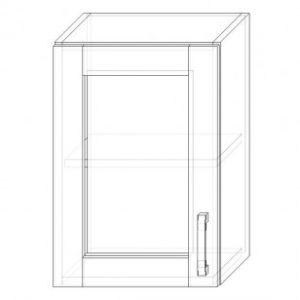 36. H40S – skrinka horná 1-dverová 400 presklená P+Ľ