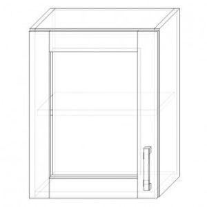 38. H45S – skrinka horná 1-dverová 450 presklená P+Ľ