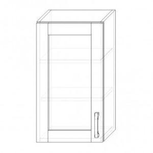 68. H40S – skrinka horná 1-dverová 400 presklená P+Ľ