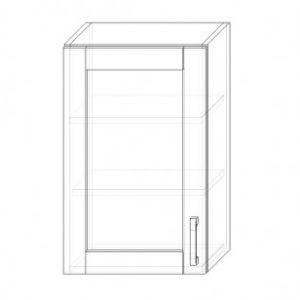 70. H45S – skrinka horná 1-dverová 450 presklená P+Ľ